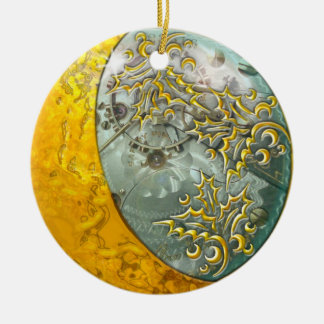 Gold Crescent Moon & Steampunk Double-sided Christmas Ornament