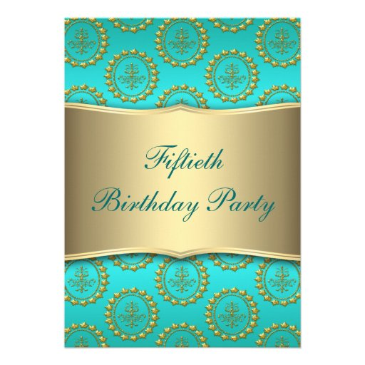 Gold Crest Teal Womans 50th Birthday Party Custom Invites