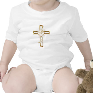 Gold cross and flowers can be religious or not baby bodysuit