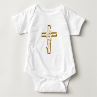 Gold cross and flowers can be religious or not t shirts