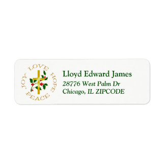 Gold Cross and Holly Christmas Address Label
