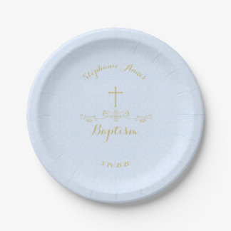 Gold Cross and Laurels in Light Blue Paper Plate