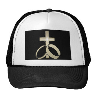 Gold Cross and Wedding Rings Art Mesh Hats