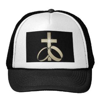 Gold Cross and Wedding Rings Art Mesh Hats