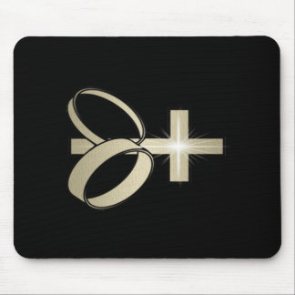 Gold Cross and Wedding Rings Art Mouse Mat