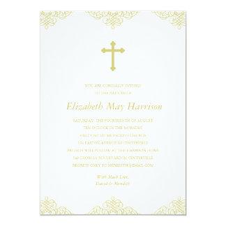 Gold Cross Baptism/Christening 13 Cm X 18 Cm Invitation Card