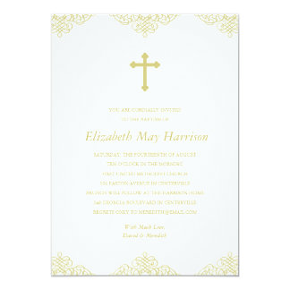 Gold Cross Baptism/Christening Card