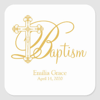 gold cross BAPTISM custom party favor label Square Sticker