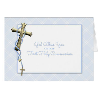 Gold Cross, Blue Rosary Beads, Communion Blessing Card
