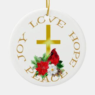 Gold Cross Cardinal Bouquet Christmas Ornament