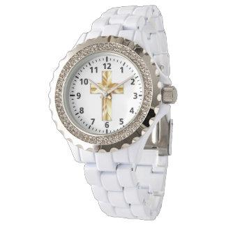 Gold Cross Custom Rhinestone White Enamel Watch