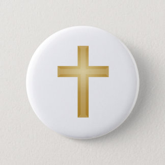 Gold Cross/Easter 6 Cm Round Badge