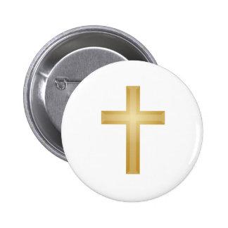Gold Cross/Easter 6 Cm Round Badge