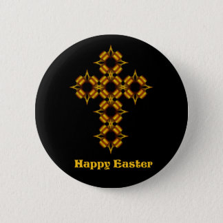Gold Cross Fractal Happy Easter 6 Cm Round Badge