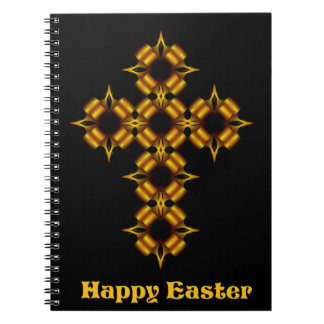 Gold Cross Fractal Happy Easter Spiral Notebook