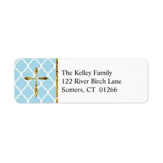 Gold Cross, Light Blue Quatrefoil Custom Address Return Address Label