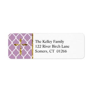 Gold Cross, Light Purple Quatrefoil Custom Address