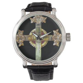Gold Cross on Black Background Watch