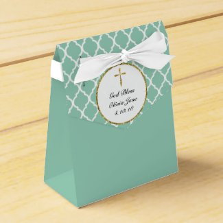 Gold Cross on Mint Green Religious Favour Box