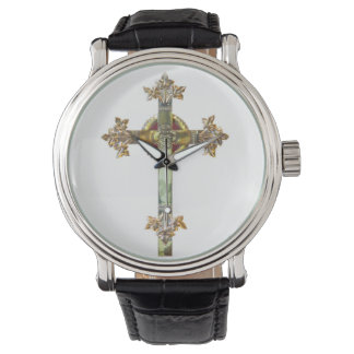Gold Cross on White Background Watch