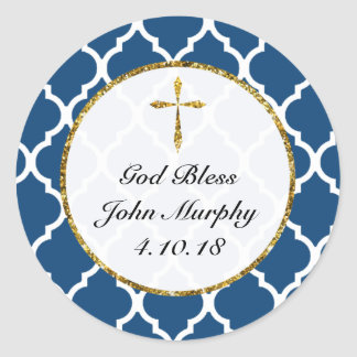Gold Cross Personalised Religious Favour Tag, Navy Classic Round Sticker