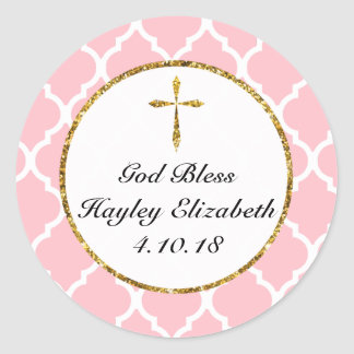 Gold Cross Personalised Religious Favour Tag, Pink Round Sticker