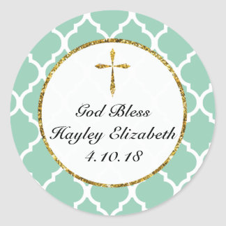 Gold Cross Personalized Religious Favor Tag, Mint Classic Round Sticker