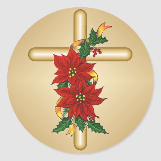 Gold Cross Poinsettia Christmas Stickers