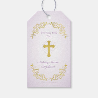 Gold Cross Purple Baptism Gift Tags