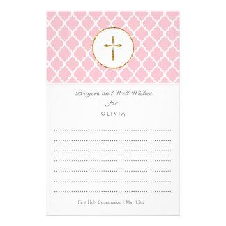 Gold Cross Religious Wish Cards, Quatrefoil 14 Cm X 21.5 Cm Flyer