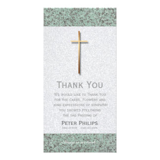 Gold Cross Stone 1 Funeral Thank You Photo Card