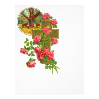 Gold Cross With Red Carnations Flyer