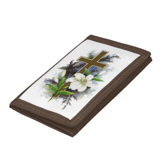 Gold Cross With White Flower Tri-fold Wallets