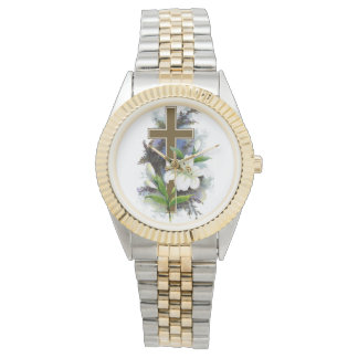 Gold Cross With White Flower Watch