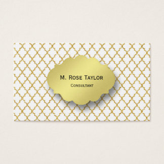 Gold Crosshatch and Gold Label Business Card