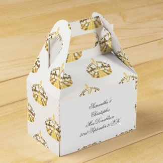 Gold crown on custom color wedding favour box