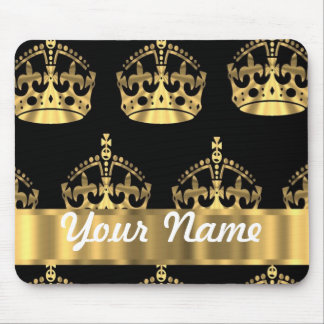 Gold crown pattern on black mouse mat