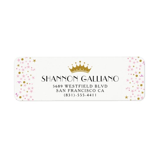 Gold Crown & Pink Confetti Address