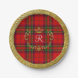 Gold Crown Stewart Plaid Monogram Paper Plate