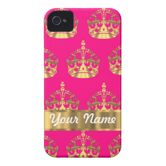 Gold crowns on hot pink iPhone 4 case