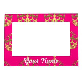 Gold crowns on hot pink magnetic picture frames