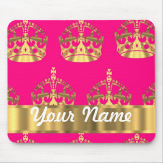 Gold crowns on hot pink mouse mat