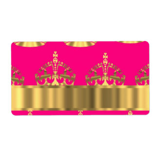 Gold crowns on hot pink shipping label