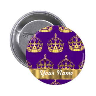 Gold crowns on purple 6 cm round badge
