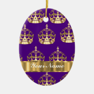 Gold crowns on purple christmas ornament