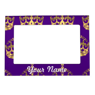 Gold crowns on purple magnetic picture frame