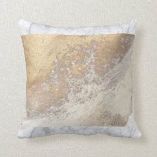 Gold Crystal Marble Throw Pillow