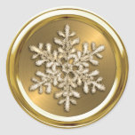 Gold Crystal Snowflake on Gold Seal Round Stickers