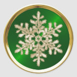 Gold Crystal Snowflake on Green Seal Round Sticker