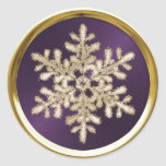 Gold Crystal Snowflake on Plum Seal Sticker